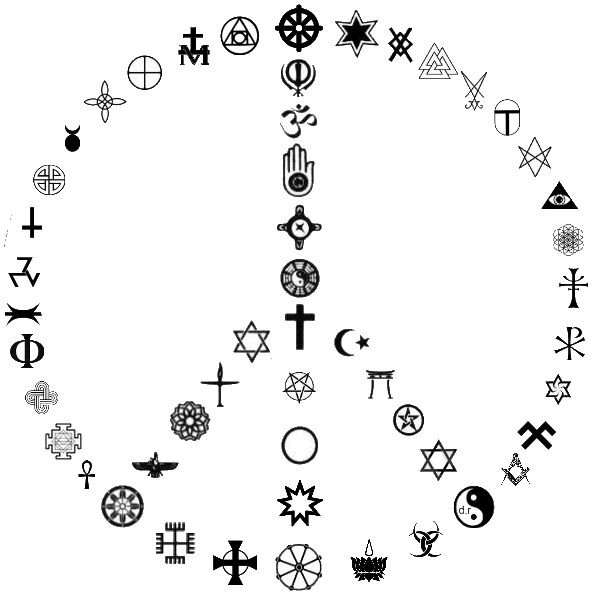 If religious or spiritual symbols are used, the design should be able to incorporate MANY of them, like this.
