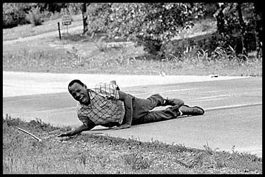1967 - Taken by Jack R. Thornell for the Associated Press. It shows James Meredith, who fought for the civil rights of black men in the United States, on the ground after being shot by a sniper in a demonstration.