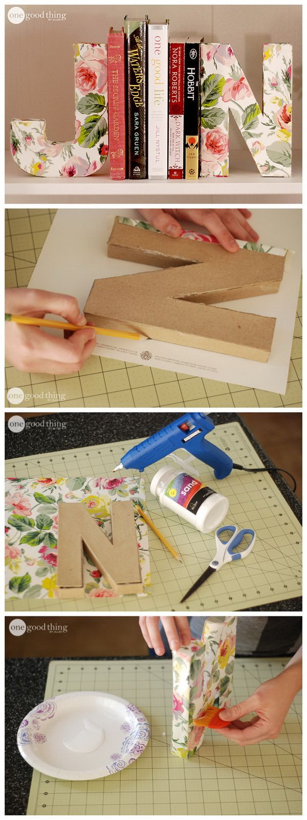Best 25 paper letters ideas on pinterest for How to cover cardboard letters with fabric