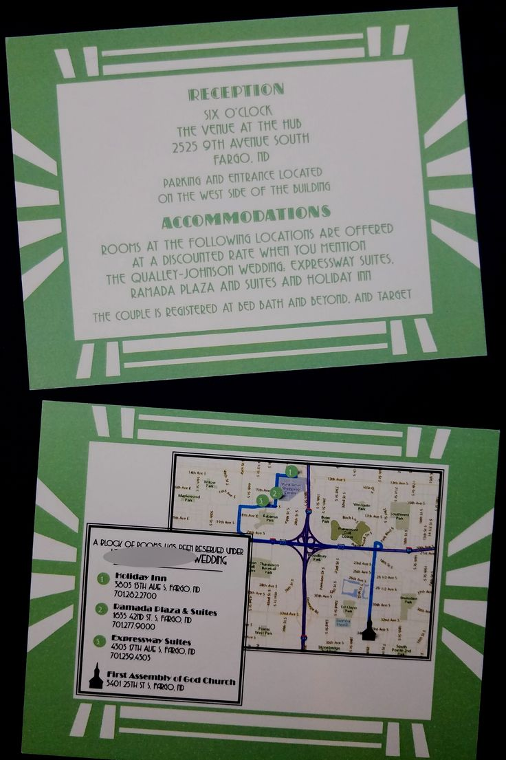 San Francisco Map Paper%0A Green reception card w map