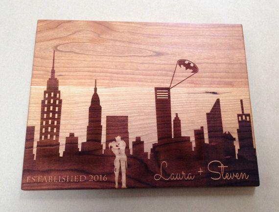 Gotham City Personalized Cutting Board: The Joker and Harley Quinn, Batman Design, Wedding Gift, Engagement Gift Batman Chopping Board