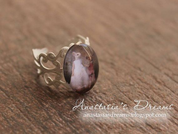 Cute adjustable ring with rabbit and deer/fawn by AnastasiasDreams