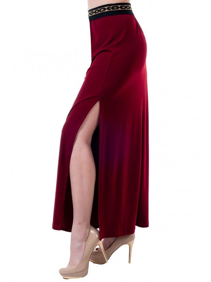Γυναικεία ελαστική μακριά ψηλόμεση φούστα, άνοιγμα στο πλάι, λάστιχο στην μέση, μπορντό. Cool Jersey. 38,90 €