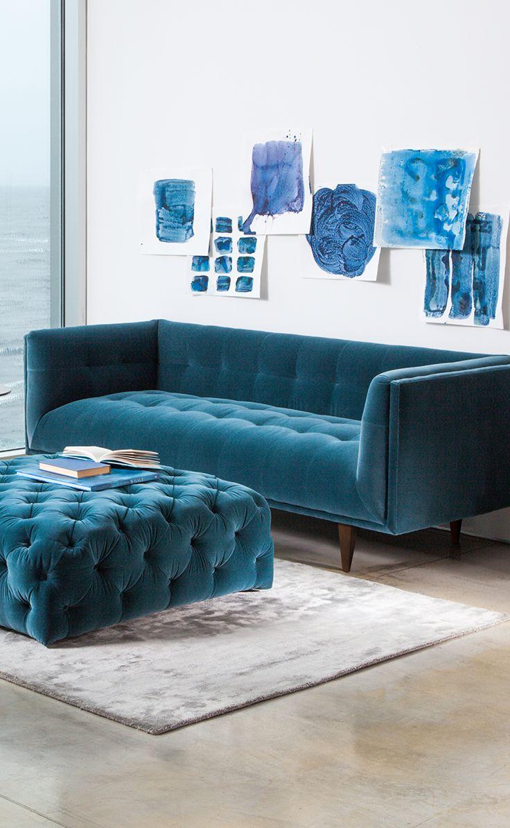 A Velvet Dream By The Sea Cirrus Sofa Diamond Ottoman