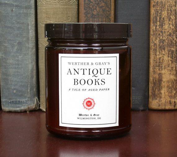 ANTIQUE BOOKS bougie 8oz, livre bougie parfumée, Werther & Gray, couleur rouille, mélange de soja, vanille papier cuir parfum, bougie de bibliothèque