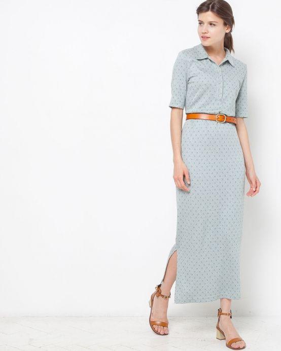 Платье-поло из трикотажа (серо-голубое)