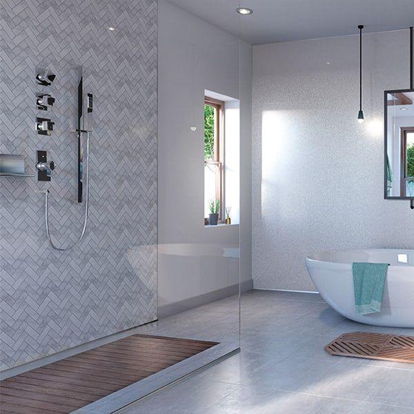Showerwall Custom Herringbone Acrylic Shower Wall Panel In 2020 Acrylic Shower Walls Shower Wall Panels Shower Wall