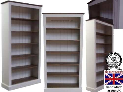 pine bookcase small 2 adjustable shelves waxed and cream painted see more white painted u0026 waxed bookcase 6ft x 3ft 100 solid wood shelving with