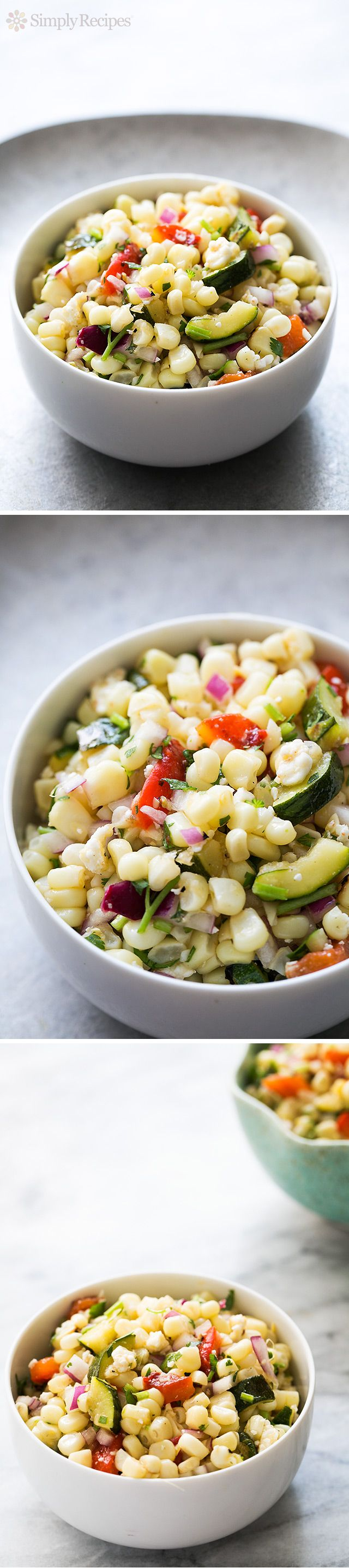 Grilled Corn Salad ~ Summery corn salad, made with grilled or toasted corn, zucchini, red bell pepper, red onions, cilantro, and seasoned with cumin, oil and vinegar. ~ SimplyRecipes.com