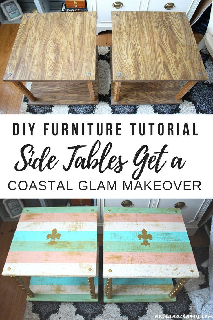 diy furniture refinishing projects. DIY Projects : UGLY End Tables Get A Chic Makeover + Tutorial Diy Furniture Refinishing