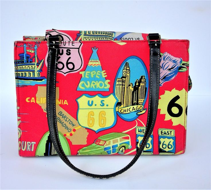 A personal favorite from my Etsy shop https://www.etsy.com/listing/502576328/vintage-us-route-66-structured-handbag