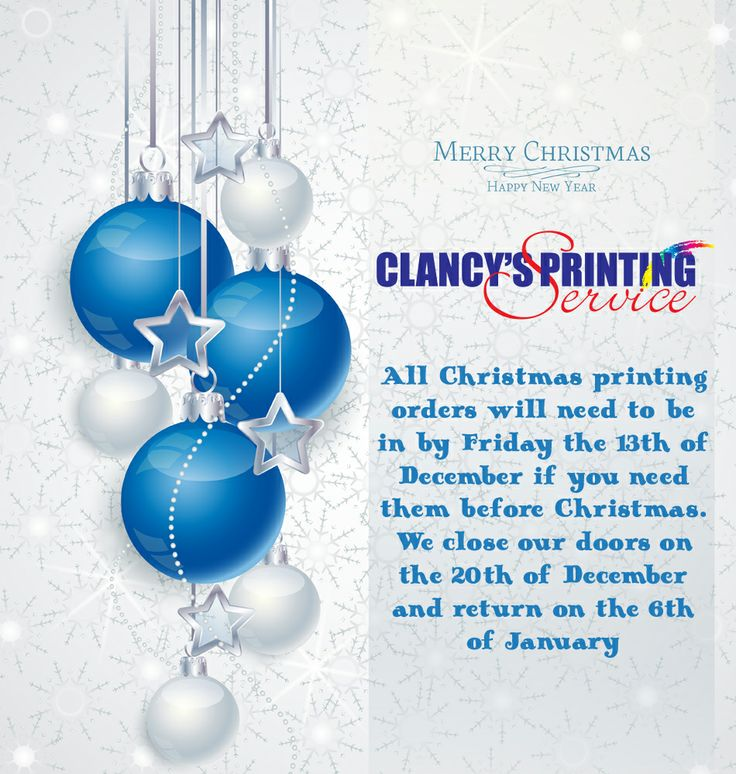 Clancy's Printing Service Christmas promotional