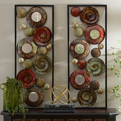 mirrored spirals metal plaques set of 2