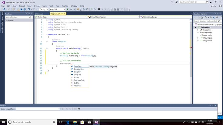 Screenshot of Using IntelliSense to Display Properties and Methods for the Defined Class.  Programming Language - C#.  Text Editor - Visual Studio 2015 (Windows 10).  Taken on 29 December 2017.