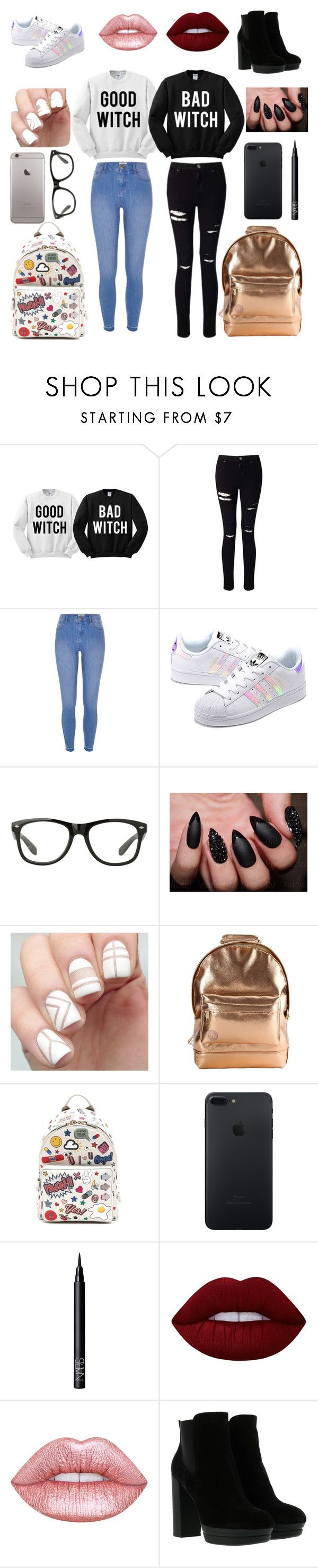 """Twensies"" by mckalethompson ❤ liked on Polyvore featuring Miss Selfridge, River Island, adidas Originals, Mi-Pac, Anya Hindmarch, NARS Cosmetics, Lime Crime and Hogan"