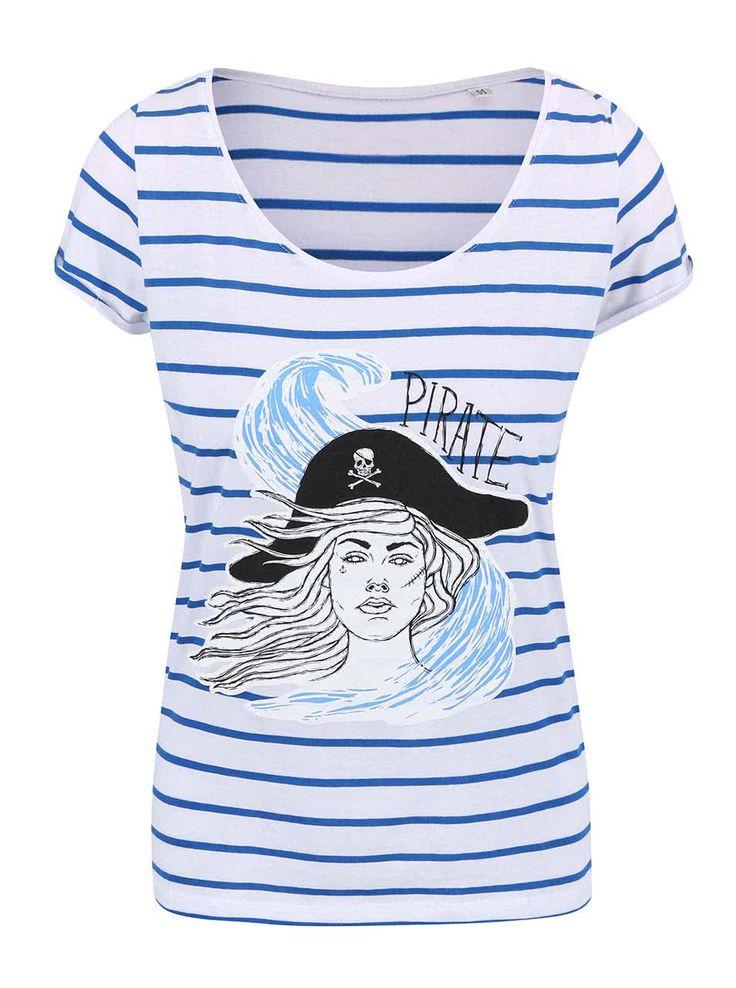 Modro-biele dámske pruhované tričko ZOOT Originál Pirátka