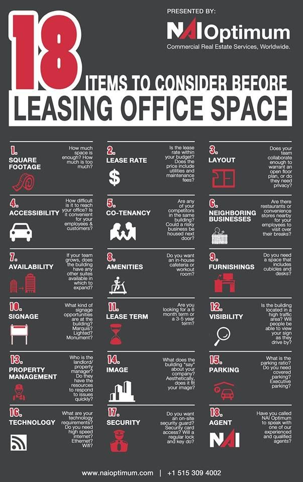 NAI Optimum - CRE - Infographic - Office Space - Lease - commercial real estate   http://www.naioptimum.com/documents/cms/docs/NAI_Office_Space_Infographic.pdf