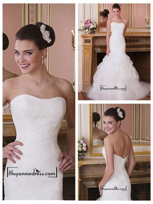 Attractive Tulle & Satin Mermaid Strapless Dropped Waist Wedding Dress
