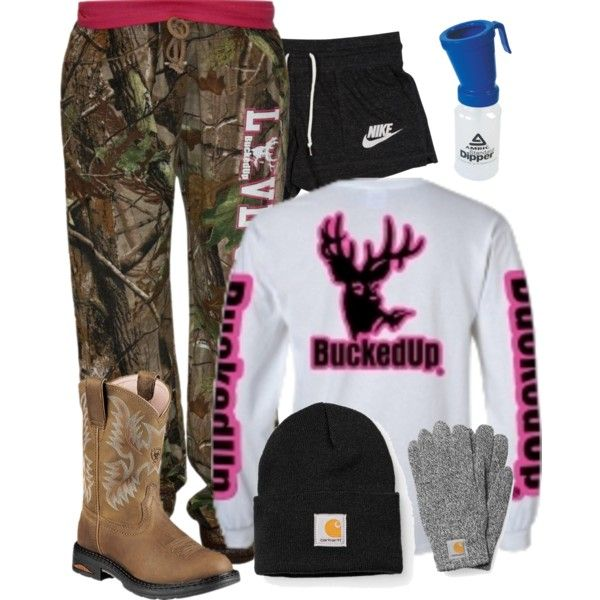 A fashion look from December 2015 featuring Realtree pants, NIKE activewear shorts and Ariat boots. Browse and shop related looks.