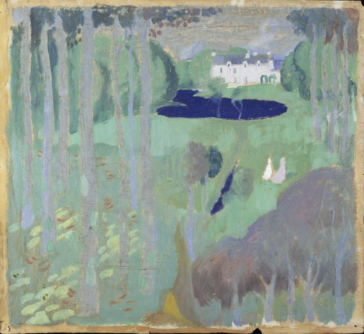 Maurice Dennis, Residence with a pond, 1895 (ca.), oil on paper, 34.0 x 37.4 cm,  National Museum of Western Art - Tokyo.