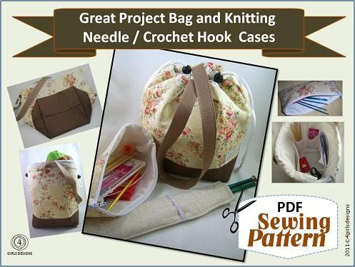 Great Project Bag, Needle Case, Needle Sleeve Sewing Pattern PDF for Organizing Knitting and Crochet Supplies: Case Needle, Pdf Sewing Patterns, Needle Case, Case Sleeve Pattern, Bag Needle, Pattern Sewing, Bag Patterns, Knitting Bags