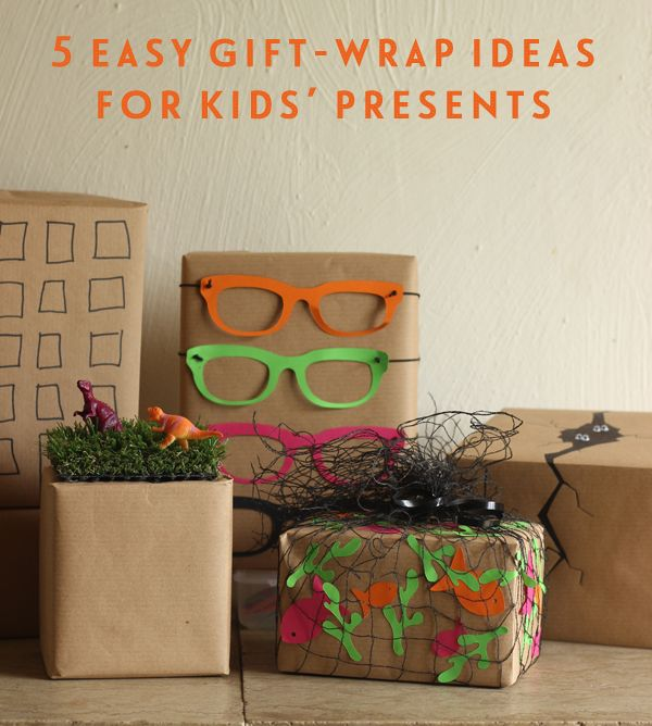 5 easy gift-wrap ideas for kids' presents.| Growing Spaces. http://www.growingspaces.net/2014/05/5-easy-gift-wrap-ideas-for-kids-presents/
