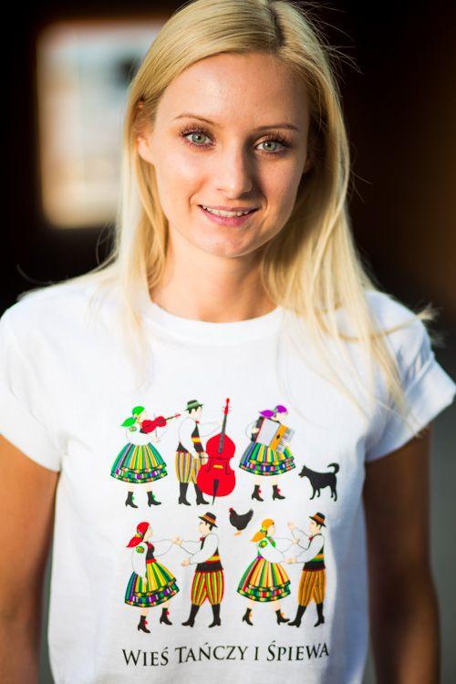 Folk koszulka, koszulka folkowa, wzór ludowy, wieś tańczy i śpiewa, folklor