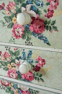 DIY: decoupage - fabric to dresser. Just use Shabby Fabric + Mod Podge