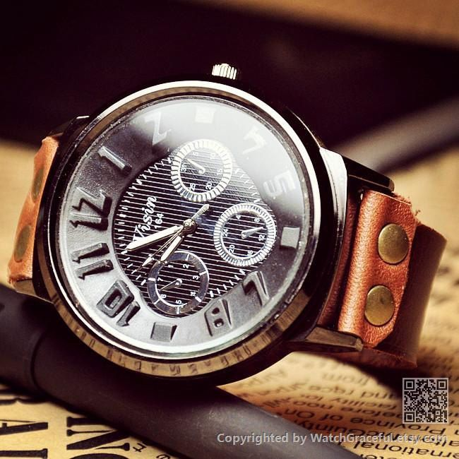 Leather Watch For Men W0107 by WatchGraceful on Etsy, $16.99