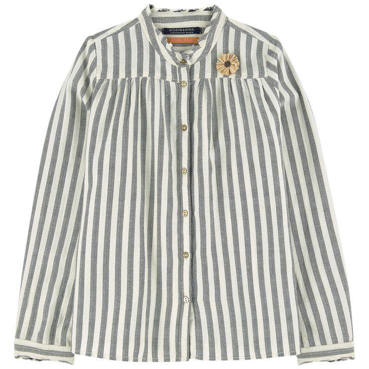Ткань из хлопка Рубашка: Большой объем Вставка на груди Расклешенный низ Длинные рукава Края со швами Пуговички Полоски - $ 110