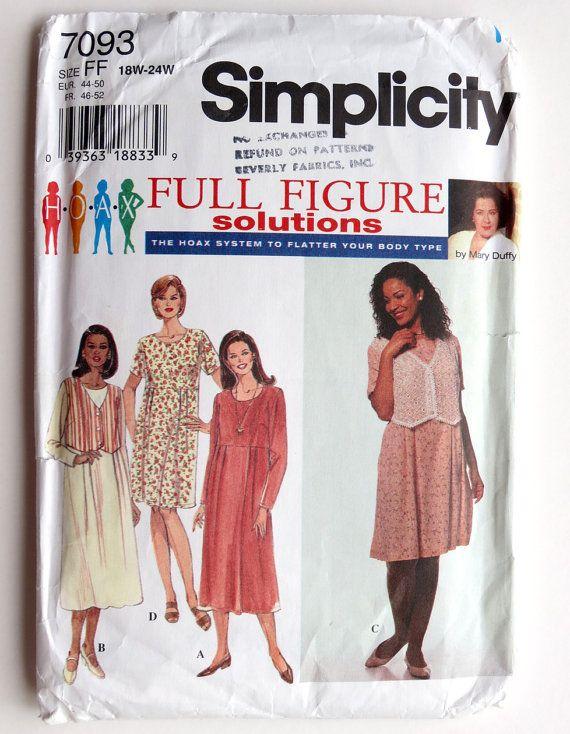 Full Figure Dress Pattern Simplicity 7093 by SouthcastleVintage