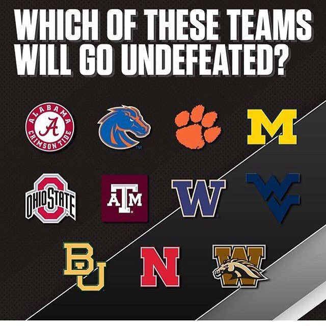 Will anyone go undefeated this year?... Had another winning weekend for our members!!! Started off with a lose but ended up 10-5 for the weekend!! Sign up today and make some money!! #undefeated #rolltide #alabama #michigan #clemson #ohiostate #gigem #nebraska #baylor #washington #boise #western #westvirginia
