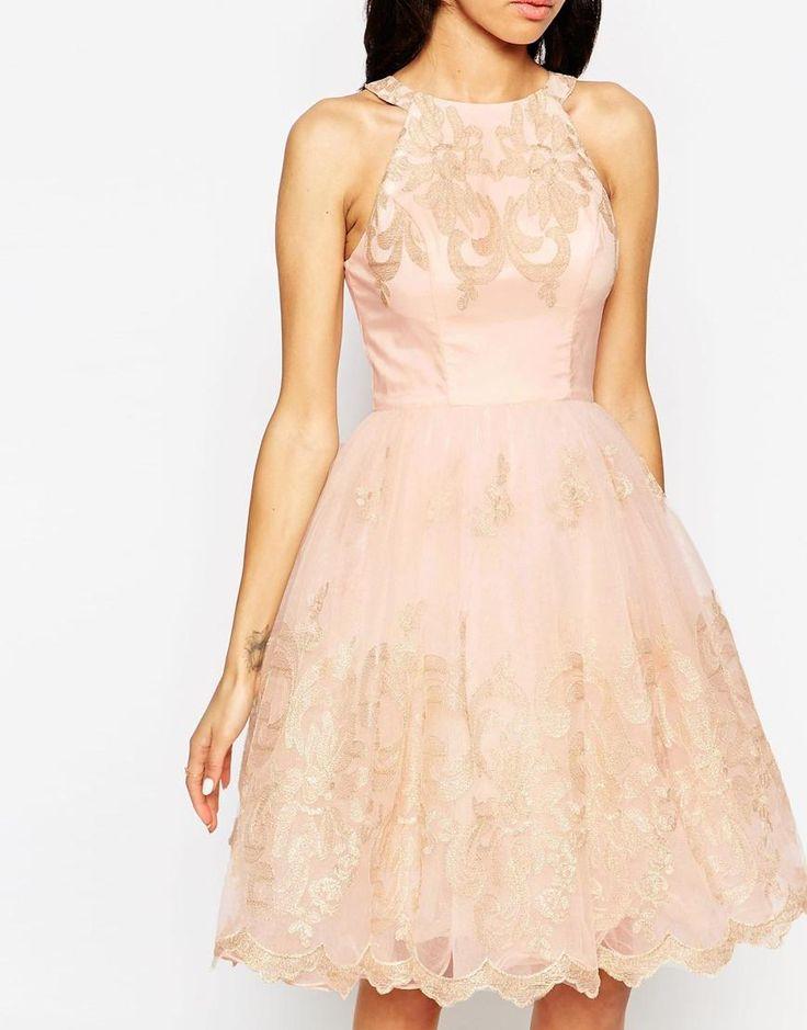 Chi Chi Petite | Chi Chi London Petite Halter Neck Lace Prom Dress at ASOS