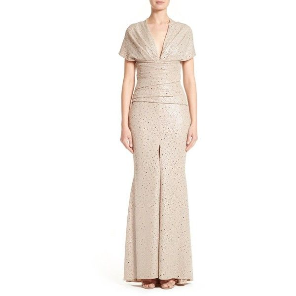 Women's Talbot Runhof Metallic Mermaid Gown (£1,360) ❤ liked on Polyvore featuring dresses, gowns, sahara, pink mermaid dress, mermaid gown, mermaid skirt, pink sparkly dress and polka dot dress