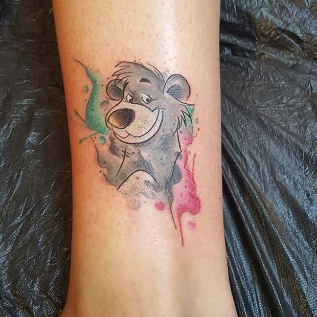 12 Cute and Creative Small Disney Tattoo Ideas: #4. CUTE BALOO THE BEAR TATTOO