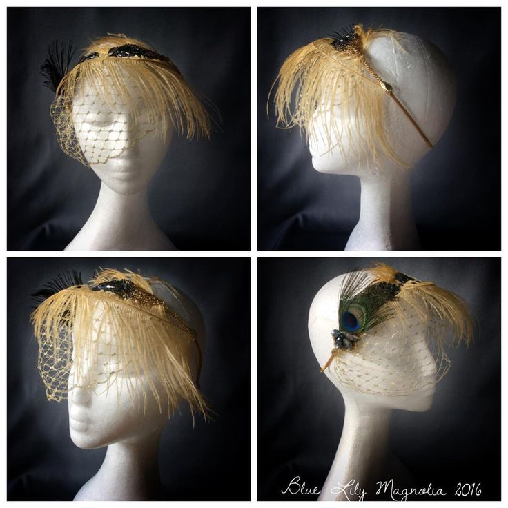 A glamour and glitzy alternative bridal headpiece with gold feathers, silver and charcoal sequins, beads and rhinestones. Designed and made by Blue Lily Magnolia