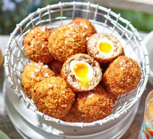 Making these mini Scotch quail's eggs is well worth the effort, best enjoyed warm with a sprinkling of flaky sea salt. The perfect party food!