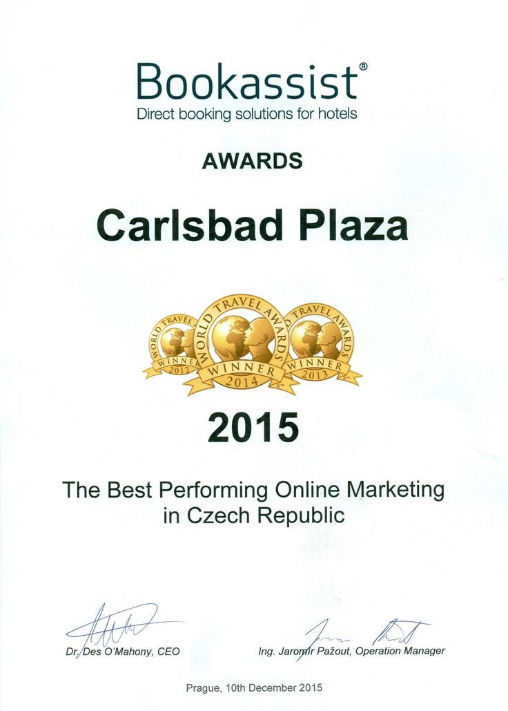 #award #bookassist #onlinemarketing #marketing #proud #thebest #carlsbadplaza #carlsbadplazahotel #karlovyvary #czechrepublic