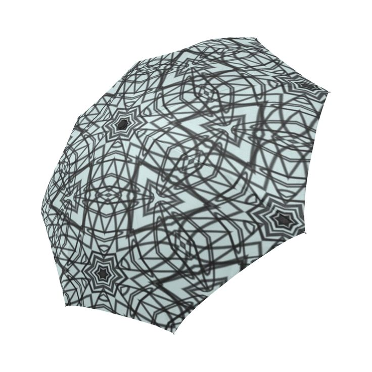 Doodles of black and light blue transformed into a mesmerizing string art  umbrella.