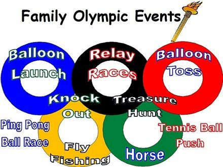 "So fun.. olympic themed party.. lots of great ideas for ""events"" - fun for end of summer Labor Day party too."