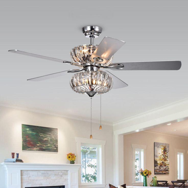 Mer enn 25 bra ideer om tiffany ceiling fan p pinterest kyana 6 light crystal 5 blade 52 inch chrome ceiling fan overstock aloadofball Images