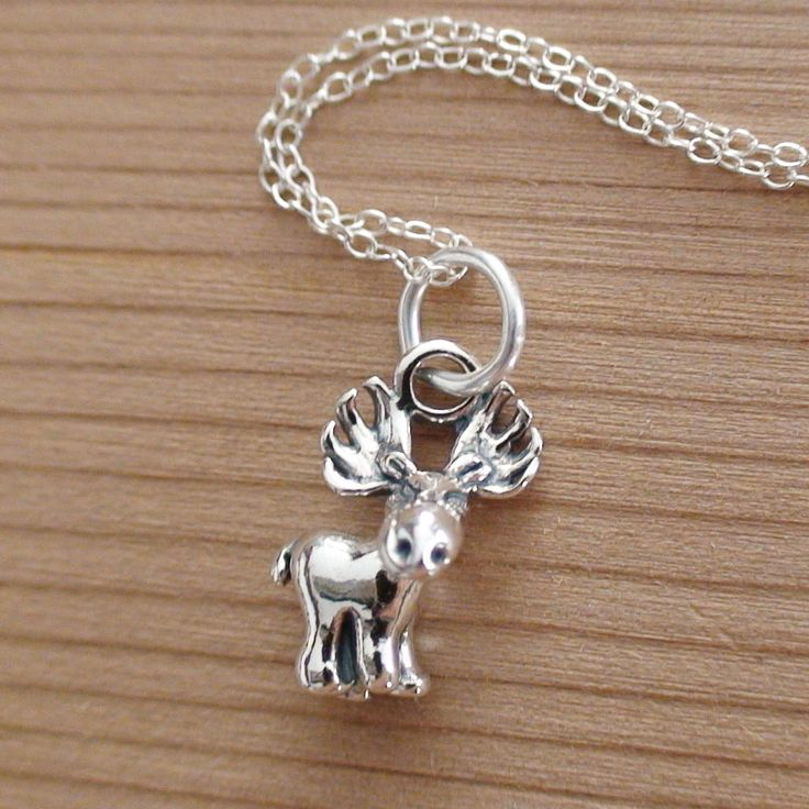 1390 best craftsman animal jewelry images on pinterest shrinky moose charm necklace 925 sterling silver new moose necklace elk deer canada aloadofball Images