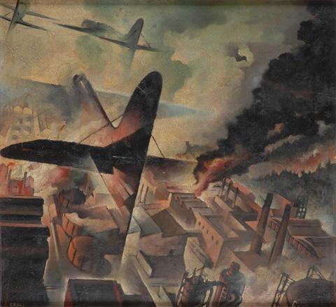 Tullio Crali, Bombardamento di una fabbrica, 1942