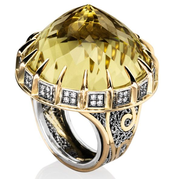 18ct-Gold-&-Sterling-Silver-Diamond-and-Lemon-Topaz-Cocktail--Ring/ Azza Fahmy  Gor-jus!!