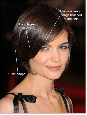 Fashionable Celebrity Hairstyles 2010 Katie Holmes Bob Haircuting