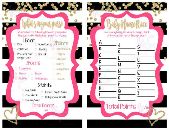 Gold Confetti Baby Shower Game Pack INSTANT DOWNLOAD  Black White Gold Glitter Pink Stripes {Digital File Only}