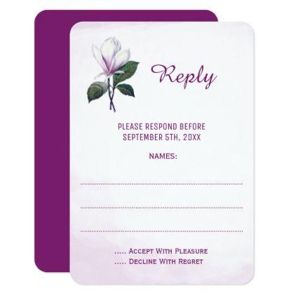 Magnolia Wedding Reply Cards - wedding invitations diy cyo special idea personalize card
