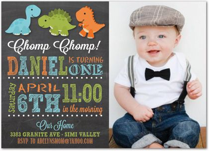 Multicolored Stripes Dinosaur Chalkboard First Birthday Invitations With A Photo
