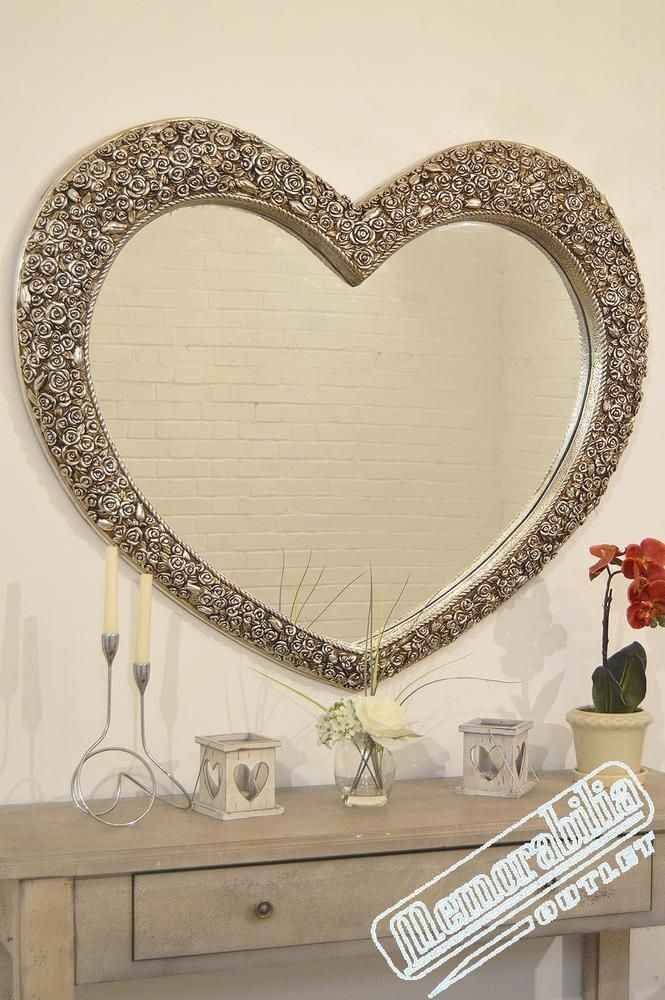 V Large Vintage Silver Heart Shaped Wall Mirror 3ft1x3ft7 (94cmx109cm) Rectangle