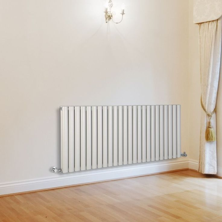 Milano Aruba - Luxury White Horizontal Designer Double Radiator 635mm x 1411mm - White Horizontal Designer Radiator in cream living room